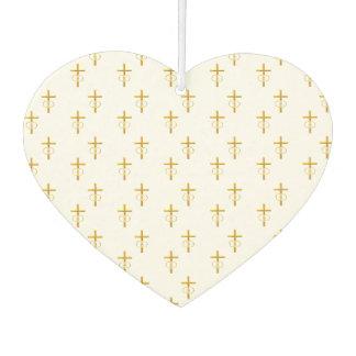 """3-D"" Look Golden Cross with Wedding Rings Car Air Freshener"