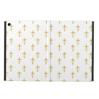 """""""3-D"""" Look Golden Cross with Wedding Rings Case For iPad Air"""