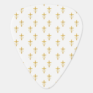 """3-D"" Look Golden Cross with Wedding Rings Guitar Pick"
