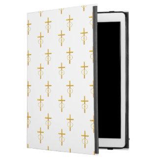 """3-D"" Look Golden Cross with Wedding Rings iPad Pro 12.9"" Case"