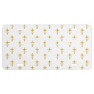 """""""3-D"""" Look Golden Cross with Wedding Rings License Plate"""