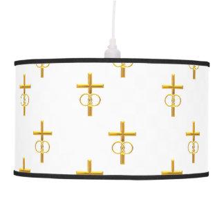 """3-D"" Look Golden Cross with Wedding Rings Pendant Lamp"