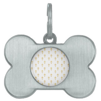 """""""3-D"""" Look Golden Cross with Wedding Rings Pet ID Tag"""
