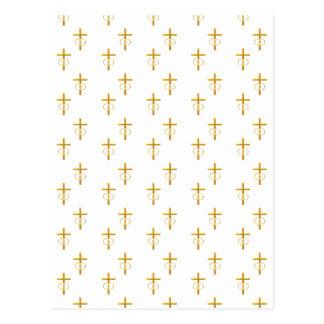 """3-D"" Look Golden Cross with Wedding Rings Postcard"