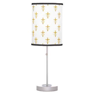 """""""3-D"""" Look Golden Cross with Wedding Rings Table Lamp"""