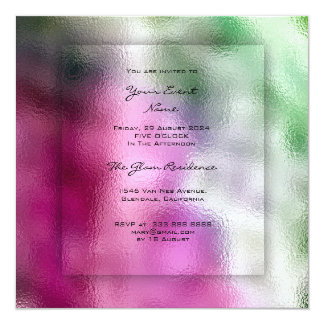3-D Mint Greenery Tropical Pink Bright Ombre Grass Card