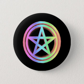 3-D Pastel Rainbow Pentacle 2 Inch Round Button