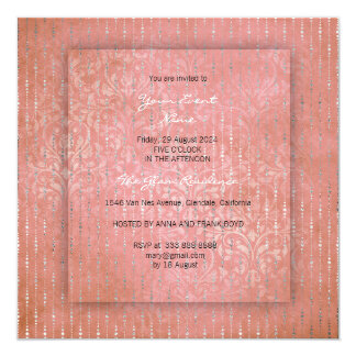 3-D Peach Coral Silver Drops Damask Bridal Shower Card