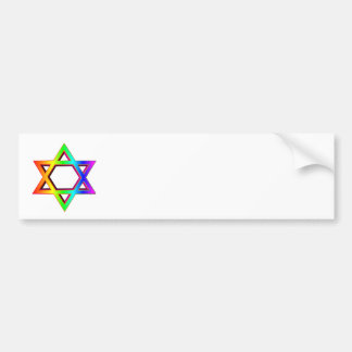 3-D Rainbow Star Of David Bumper Sticker