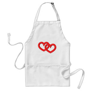 3-D Red Linked Hearts Standard Apron