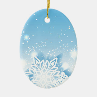 3-D snowflakes Ceramic Oval Ornament