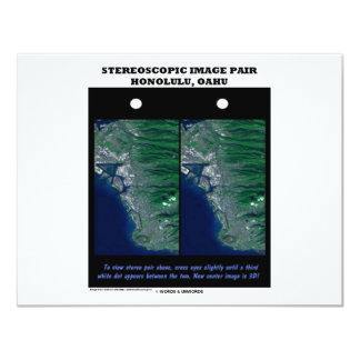 "3-D Stereoscopic Image Pair Honolulu, Oahu 4.25"" X 5.5"" Invitation Card"