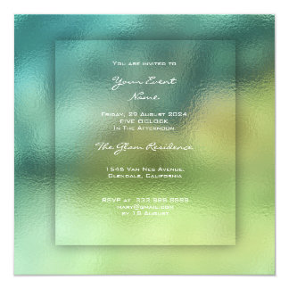 3-D Woodland Green Glass Greenery Teal Ombre Grass Card