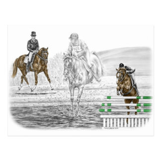 3-Day Eventing Horses Combined Training Postcard
