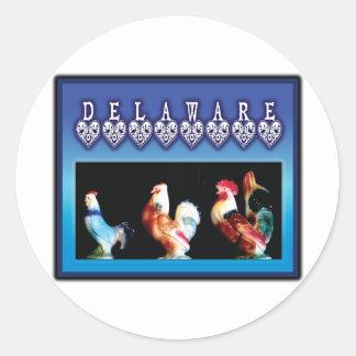 3 Delaware Chickens Round Sticker