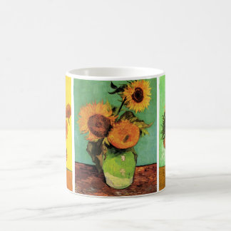 3 different Vintage Van Gogh Sunflower Paintings Basic White Mug