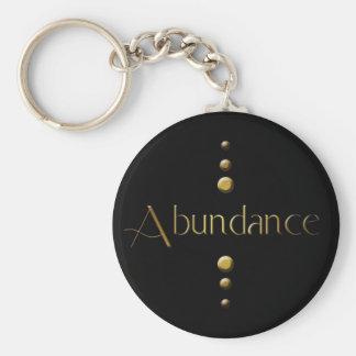 3 Dot Gold Block Abundance & Black Background Basic Round Button Keychain