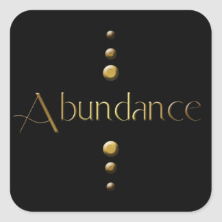 3 Dot Gold Block Abundance & Black Background Square Sticker