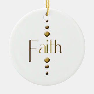 3 Dot Gold Block Faith Ceramic Ornament