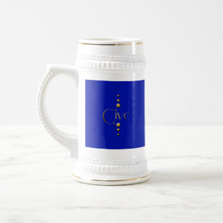 3 Dot Gold Block Give & Blue Background Beer Stein