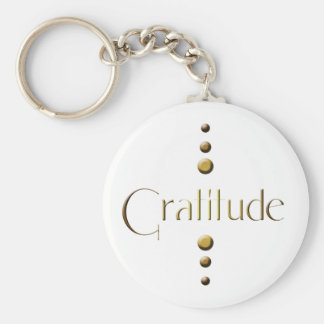 3 Dot Gold Block Gratitude Basic Round Button Keychain