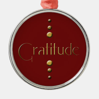 3 Dot Gold Block Gratitude & Burgundy Background Metal Ornament