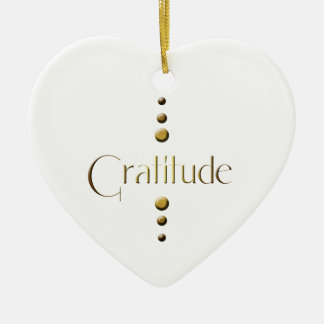 3 Dot Gold Block Gratitude Ceramic Ornament