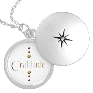 3 Dot Gold Block Gratitude Locket Necklace