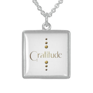 3 Dot Gold Block Gratitude Sterling Silver Necklace