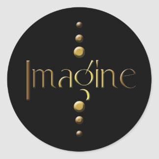 3 Dot Gold Block Imagine & Black Background Classic Round Sticker