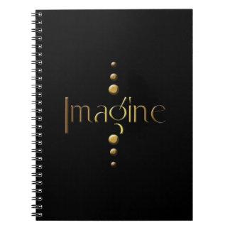 3 Dot Gold Block Imagine & Black Background Notebooks