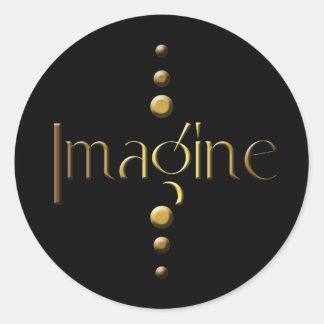 3 Dot Gold Block Imagine & Black Background Round Sticker