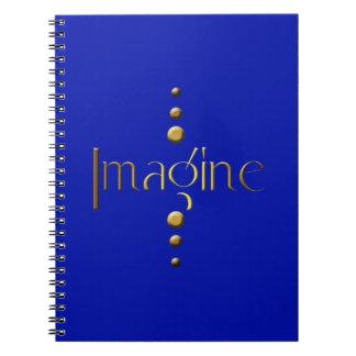 3 Dot Gold Block Imagine & Blue Background Note Book