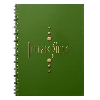 3 Dot Gold Block Imagine & Green Background Spiral Note Books