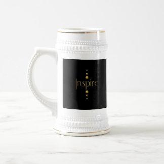 3 Dot Gold Block Inspire & Black Background 18 Oz Beer Stein
