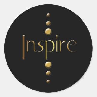3 Dot Gold Block Inspire & Black Background Round Sticker