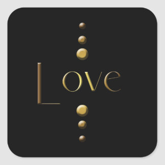 3 Dot Gold Block Love & Black Background Square Sticker