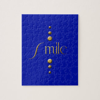3 Dot Gold Block Smile & Blue Background Jigsaw Puzzle