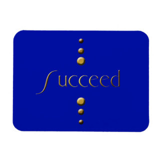 3 Dot Gold Block Succeed & Blue Background Magnet