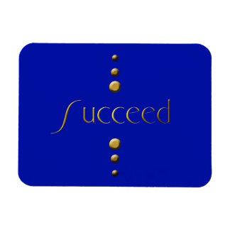 3 Dot Gold Block Succeed & Blue Background Rectangular Photo Magnet