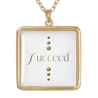 3 Dot Gold Block Succeed Gold Plated Necklace