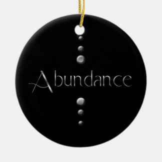 3 Dot Silver Block Abundance & Black Background Ceramic Ornament
