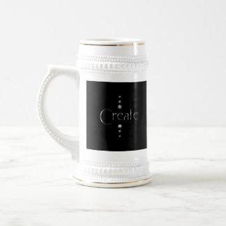 3 Dot Silver Block Create & Black Background Beer Stein