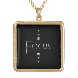 3 Dot Silver Block Focus & Black Background Gold Plated Necklace