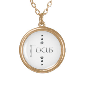3 Dot Silver Block Focus Gold Plated Necklace
