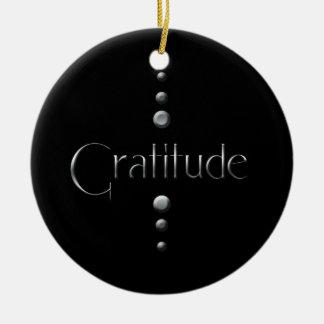 3 Dot Silver Block Gratitude & Black Background Round Ceramic Ornament