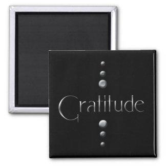 3 Dot Silver Block Gratitude & Black Background Square Magnet