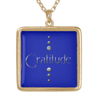 3 Dot Silver Block Gratitude & Blue Background Gold Plated Necklace