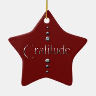 3 Dot Silver Block Gratitude & Burgundy Background Ceramic Ornament