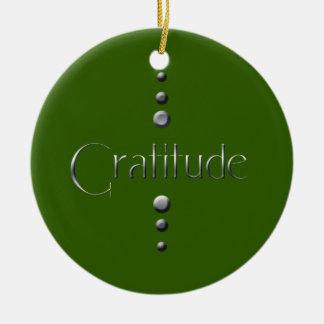 3 Dot Silver Block Gratitude & Green Background Round Ceramic Ornament